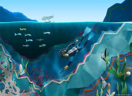 潜入缤纷的海底世界   忙碌的办公室 动感的立体纸雕艺术,跟大家分享