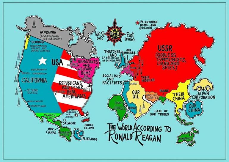 美国人心中的世界地图