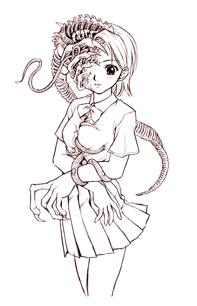 冬天动漫少女简笔画